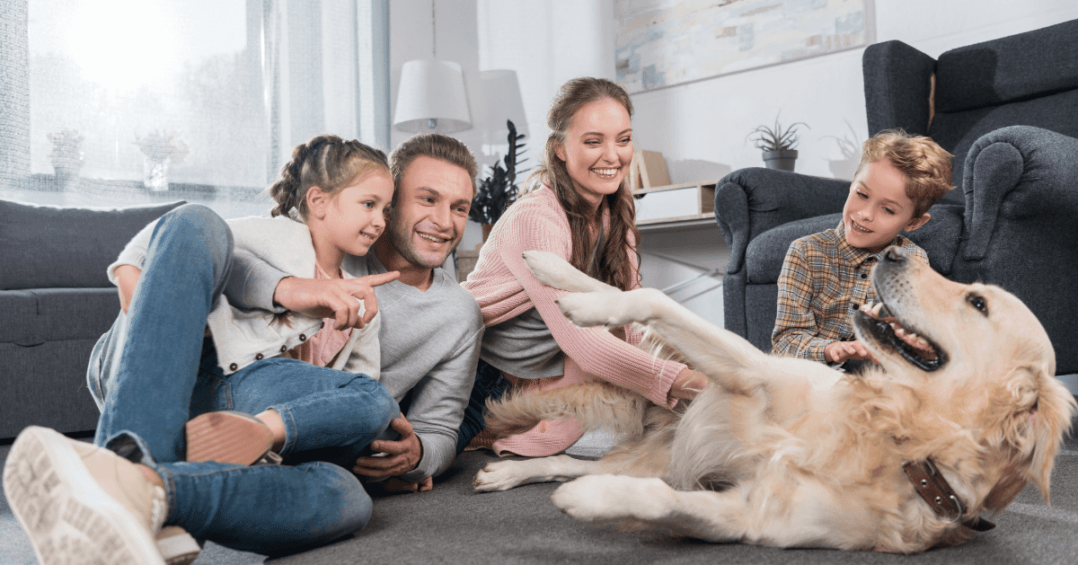 happy dog with family